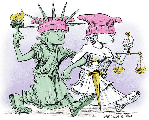 Pussycat Drawing - Women's March On Washington by Daryl Cagle