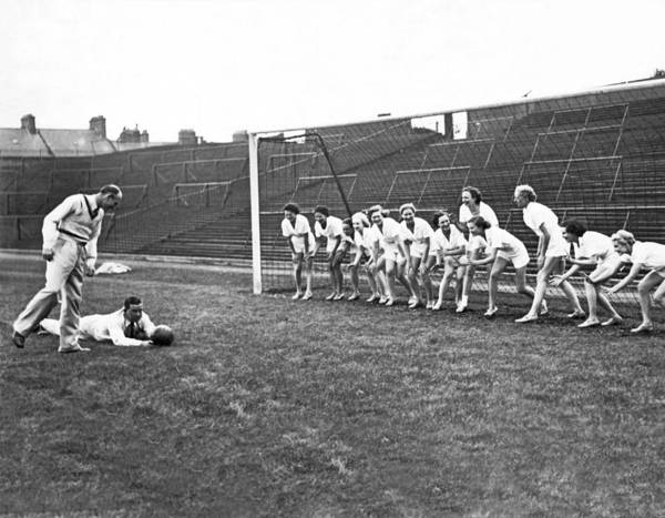 Photograph - Women's Soccer Team Lineup by Underwood Archives