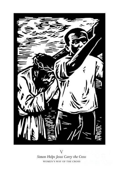 Painting - Women's Stations Of The Cross 05 - Simon Helps Jesus Carry The Cross - Jlsic by Julie Lonneman