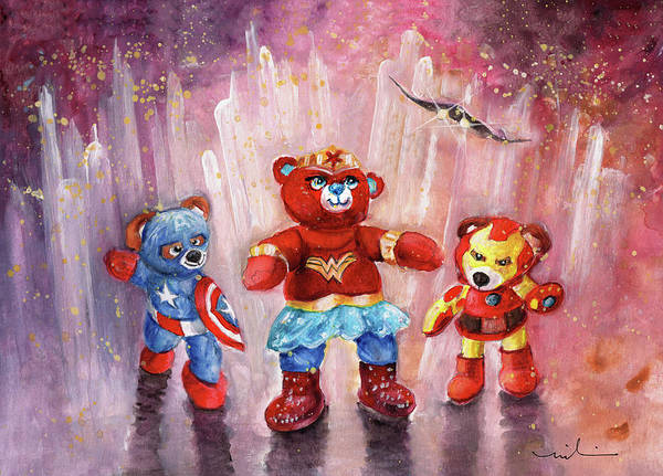 Painting - Wonder Bearbie With Captain Abearica And Iron Bear by Miki De Goodaboom