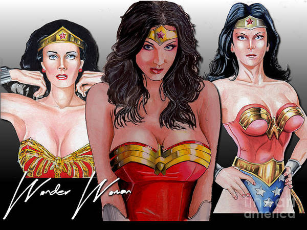 Drawing - Wonder Woman Collage by Bill Richards