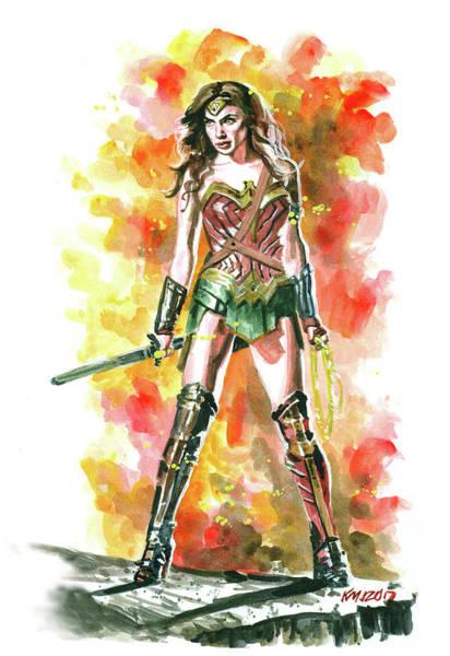 Wall Art - Painting - Wonder Woman by Ken Meyer