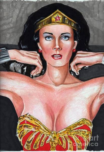 Drawing - Wonder Woman Lynda Carter by Bill Richards