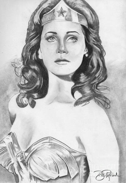 Drawing - Wonder Woman - Pencil by Bill Richards