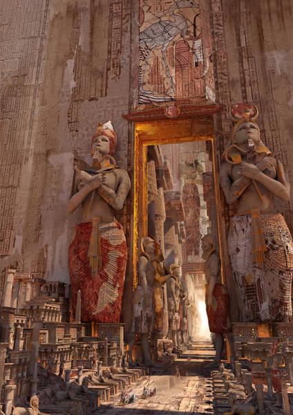 Sci-fi Digital Art - Wonders Door To The Luxor by Te Hu