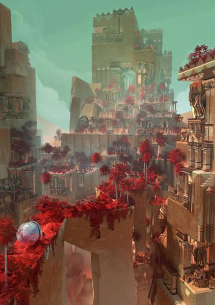 Sci-fi Digital Art - Wonders Hanging Garden Of Babylon by Te Hu