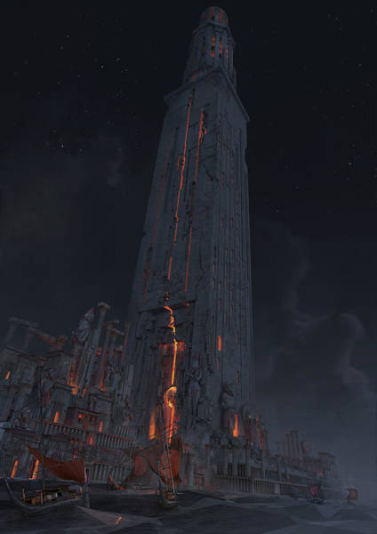 Sci-fi Wall Art - Digital Art - Wonders Lighthouse Of Alxendria by Te Hu