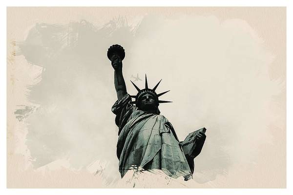 Manhattan Skyline Painting - Wonders Of The Worlds - Lady Liberty by Celestial Images