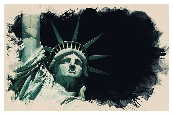 Manhattan Skyline Painting - Wonders Of The Worlds - Lady Liberty Of New York 2 by Celestial Images