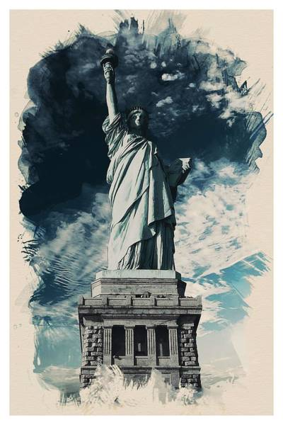 Manhattan Skyline Painting - Wonders Of The Worlds - Lady Liberty Of New York by Celestial Images