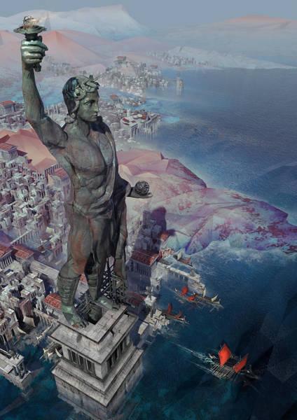 Sci-fi Digital Art - wonders the Colossus of Rhodes by Te Hu