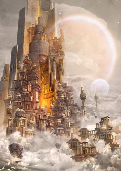 Sci-fi Digital Art - Wonders Tower Of Babylon by Te Hu