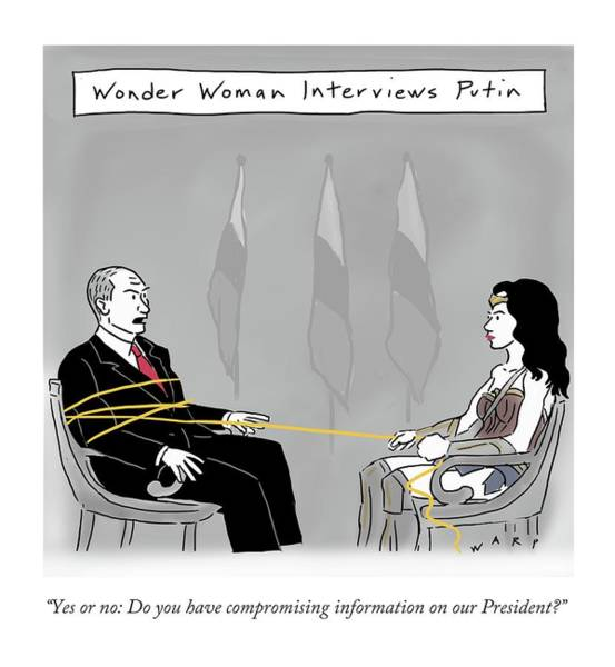 Superhero Drawing - Wonderwoman Interviews Putin by Kim Warp