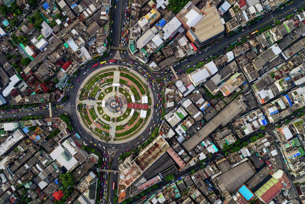 Photograph - Wongwian Yai Roundabout Surrounded By Buildings, Bangkok by Pradeep Raja PRINTS