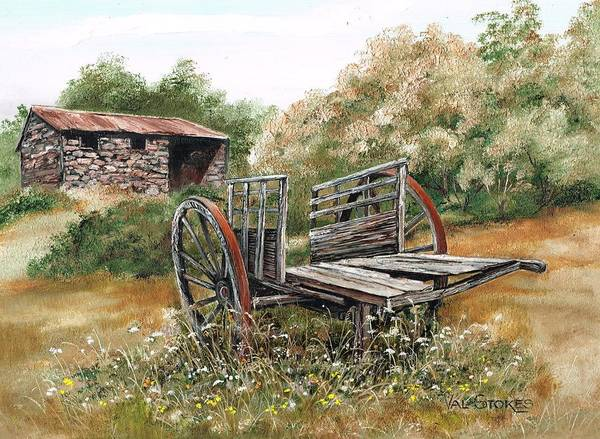 Painting - Wonky Wheels by Val Stokes