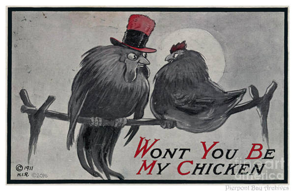 Horny Digital Art - Wont You Be My Chicken. 1911. Mechanic Garage Pin-up Art Postcard by Pierpoint Bay Archives