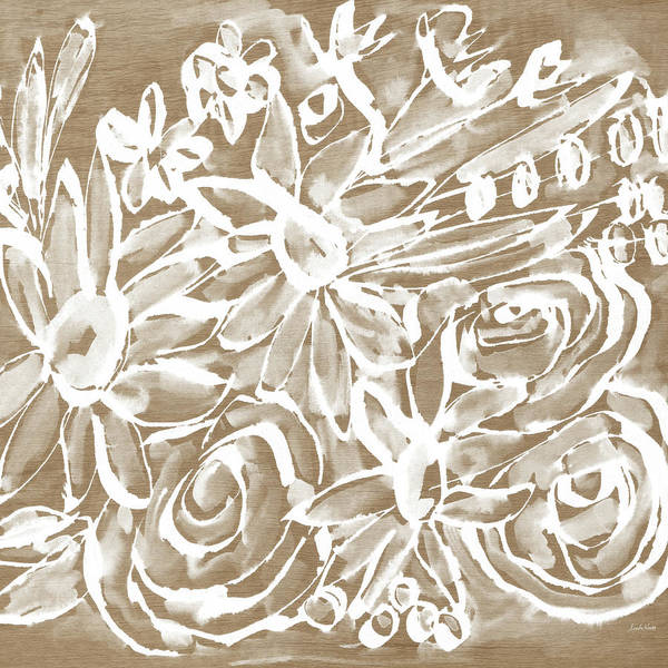 Floral Mixed Media - Wood And White Floral- Art By Linda Woods by Linda Woods