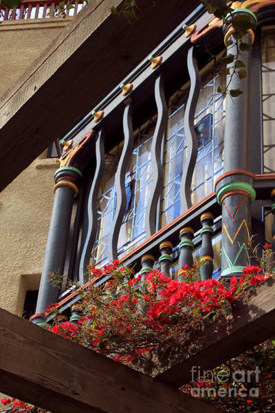 Photograph - Wood Beams Red Flowers And Blue Window by James Eddy