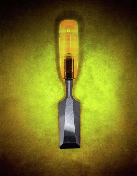 Wall Art - Photograph - Wood Chisel W Bright Yellow Plastic Handle  by YoPedro