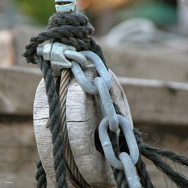 Photograph - Wood Rope And Chain by Frank Mari