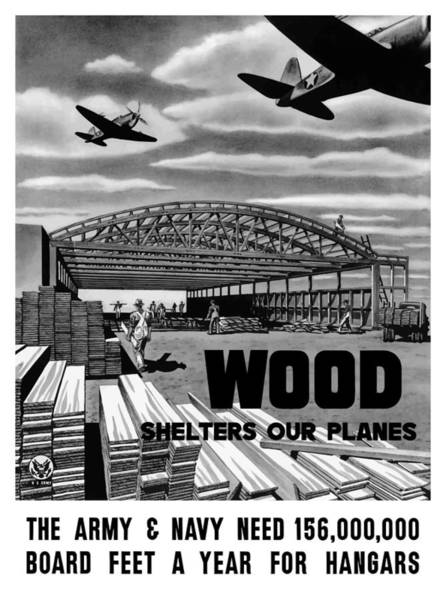 Wwii Painting - Wood Shelters Our Planes - Ww2 by War Is Hell Store