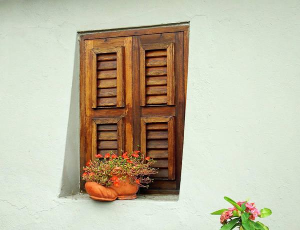 Photograph - Wood Shuttered Window, Island Of Curacao by Kurt Van Wagner