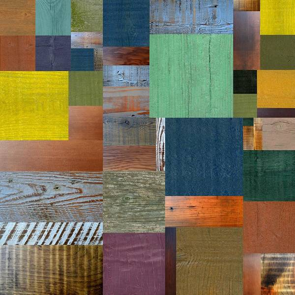Digital Art - Wood With Teal And Yellow by Michelle Calkins
