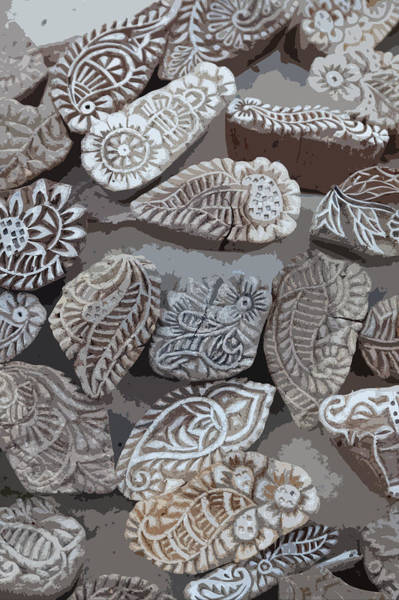 Saffron Digital Art - Woodblocks by Cinnabar and Saffron