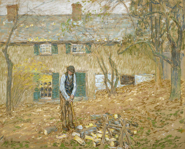 Pastel - Woodchopper  by Childe Hassam
