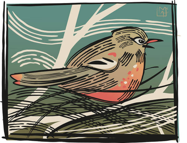 Wall Art - Painting - Woodcut Style Robin by Leslie Alfred McGrath