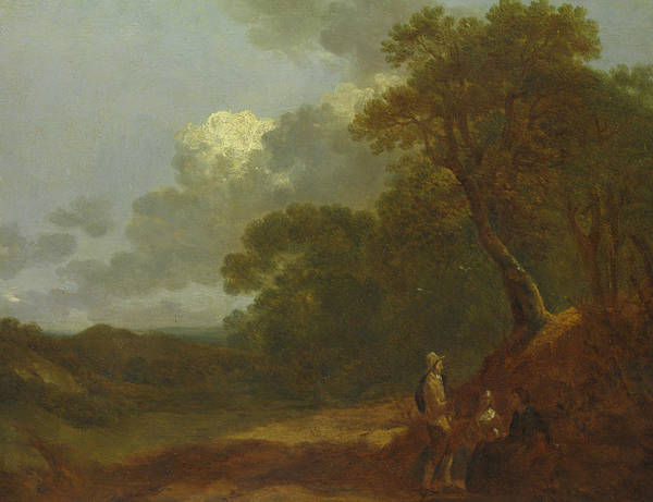 Painting - Wooded Landscape With A Man Talking To Two Seated Women  by Thomas Gainsborough