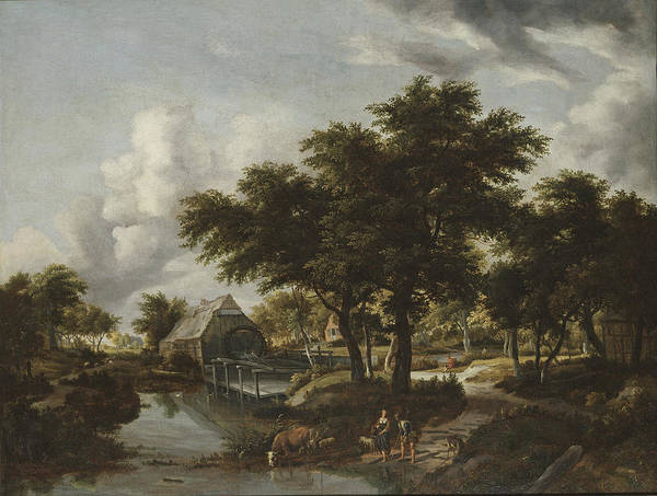 Meindert Hobbema Painting - Wooded Landscape With A Watermill by Meindert Hobbema
