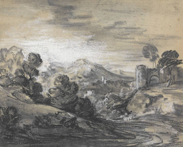 Drawing - Wooded Landscape With Castle by Thomas Gainsborough