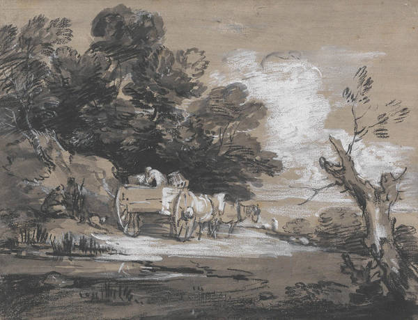 Painting - Wooded Landscape With Country Cart And Figures  by Thomas Gainsborough