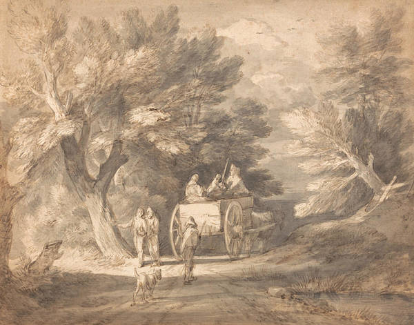 Cart Drawing - Wooded Landscape With Country Cart And Figures Walking Down A Lane by Thomas Gainsborough