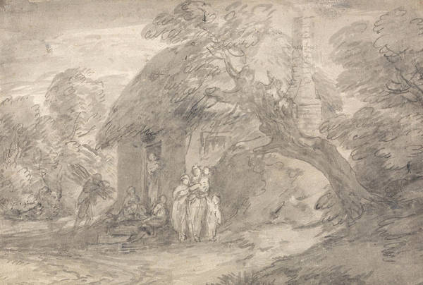Drawing - Wooded Landscape With Figures Outside A Cottage Door by Thomas Gainsborough