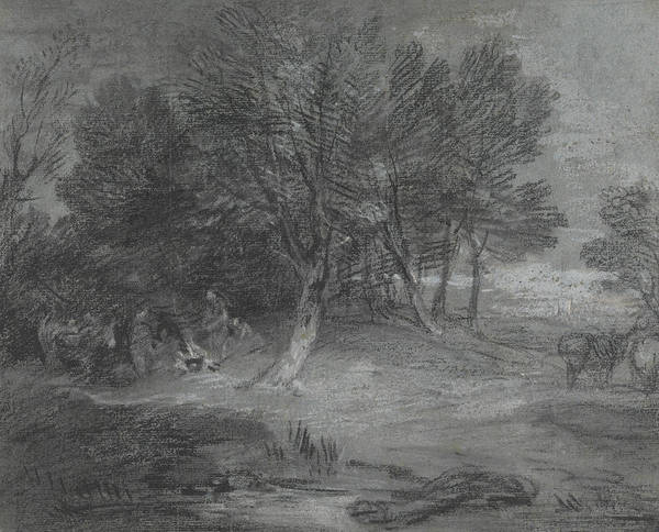 Drawing - Wooded Landscape With Gypsy Encampment by Thomas Gainsborough