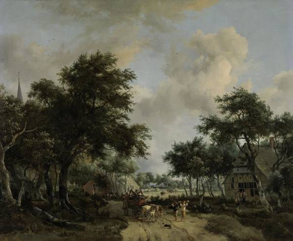 Meindert Hobbema Painting - Wooded Landscape With Merrymakers In A Cart, Meindert Hobbema, C. 1665 by Celestial Images