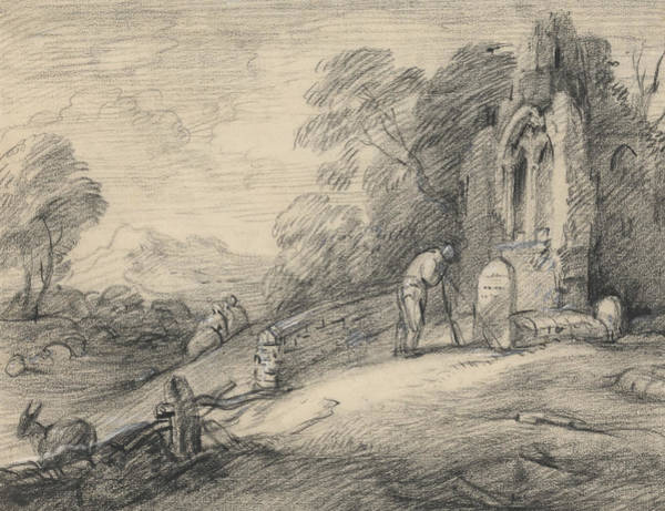 Drawing - Wooded Landscape With Peasant Reading An Inscription On A Tombstone Beside A Ruined Church by Thomas Gainsborough