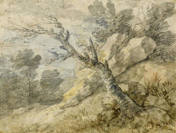 Thomas Gainsborough Wall Art - Drawing - Wooded Landscape With Rocks And Tree Stump by Thomas Gainsborough
