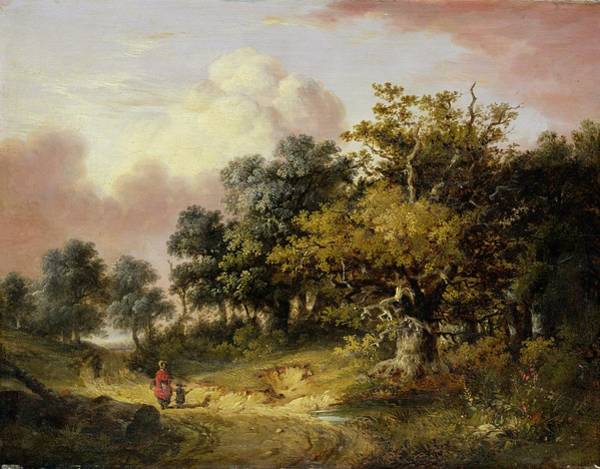 Mother Road Wall Art - Painting - Wooded Landscape With Woman And Child Walking Down A Road  by Robert Ladbrooke