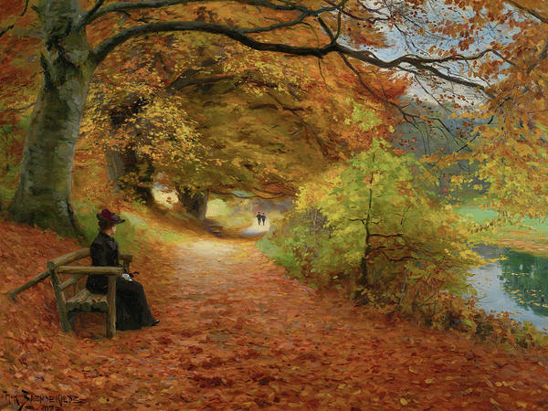 Painting - Wooded Path In Autumn By Hans Andersen Brendekilde 1902 by Hans Andersen Brendekilde