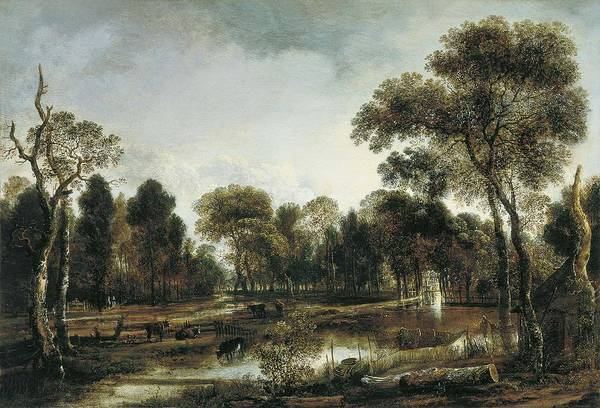 Painting - Wooded River Landscape Ca. 1645 Aert Van Der Neer by Artistic Panda