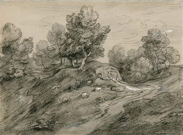 Drawing - Wooded Upland Landscape With Shepherd And Sheep And Country Track  by Thomas Gainsborough