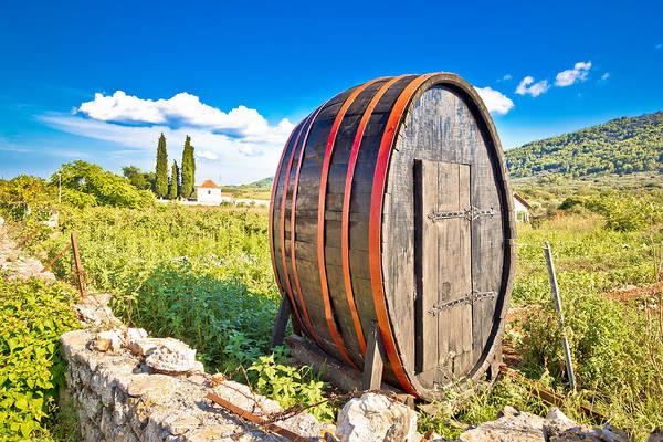 Starigrad Photograph - Wooden Barrel On Hvar Plains Landscape by Brch Photography