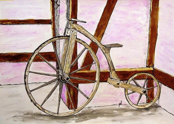 Restaurant Decor Drawing - Wooden Bike by Maria Woithofer