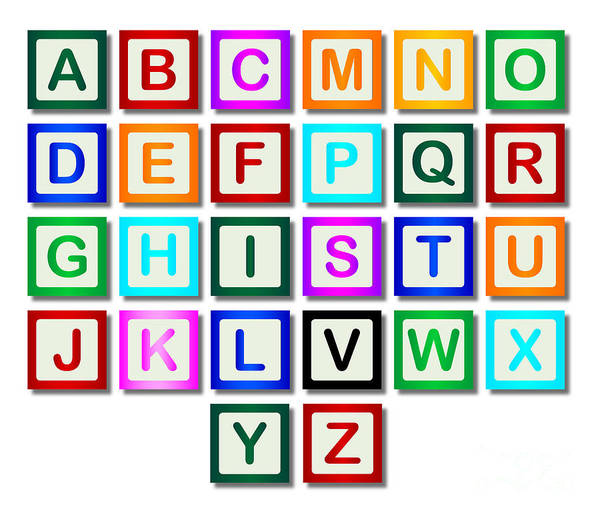 A To Z Digital Art - Wooden Block Letters A To Z by Bigalbaloo Stock