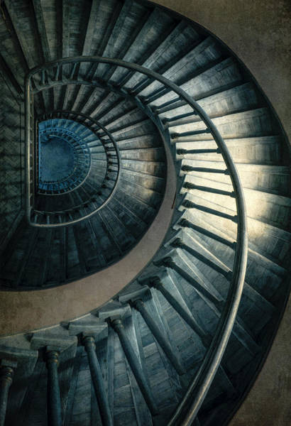 Photograph - Wooden Blue Spiral Staircase by Jaroslaw Blaminsky