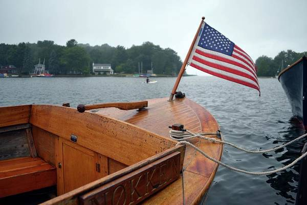 Photograph - Wooden Boat And Pentwater Channel by Michelle Calkins