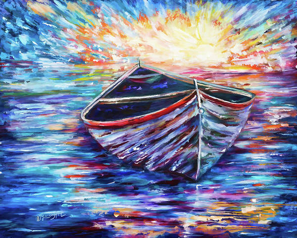 Painting - Wooden Boat At Sunrise - 2 by OLena Art - Lena Owens